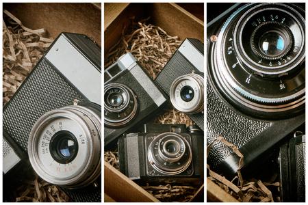 Old retro rangefinder cameras in post box
