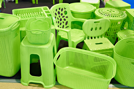 Products from plastic - chairs and household boxes