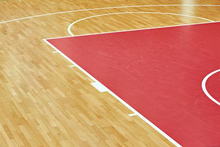 Basketball court parquet inindoors sport gym