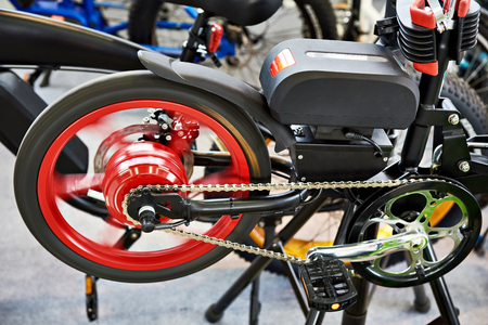 Electro bike on the test stand in the store Stock Photo
