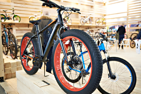 Bike with fat tires in the sports shop