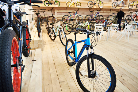 Bicycles in a sports shop