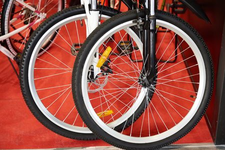 Front bicycle wheels in the store