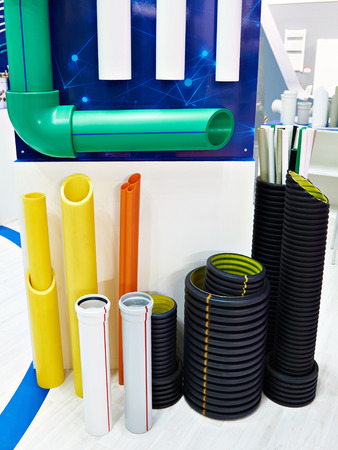 Color plastic pipes for industrial water supply and heating mains