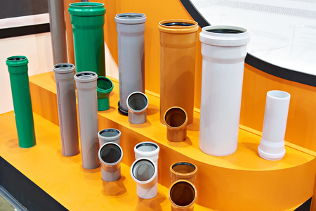 Plastic pipes for sewerage system Stock Photo