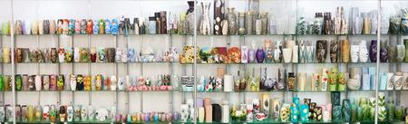 Beautiful vases on the market counter Фото со стока