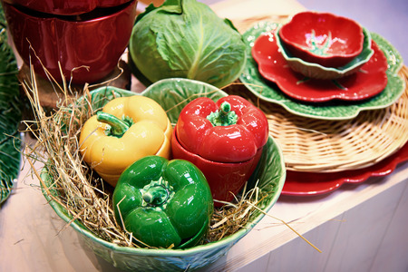 Tableware and vegetables cabbage and bell pepper