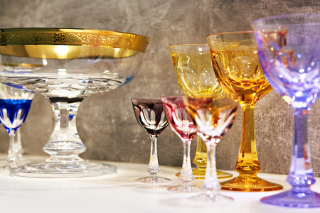 Wine glasses and small glasses for alcoholic drinks