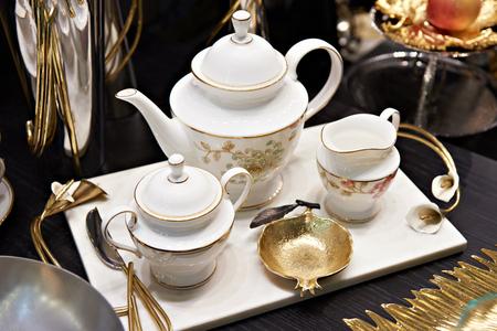Tea service on the table