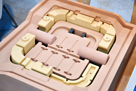 Forms for casting engine parts closeup