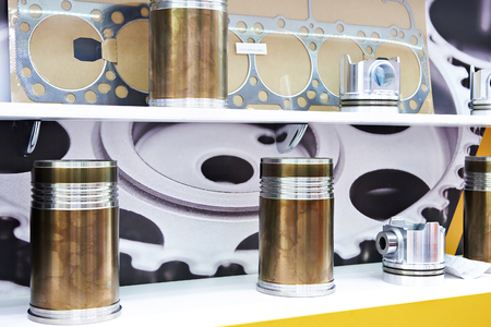 Cylinder sleeves and pistons of engine in store Фото со стока
