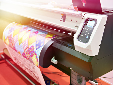 Big plotter printer with LED control panel Stock Photo
