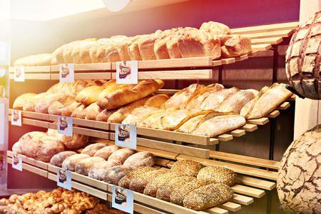Fresh bread on shelves in a bakery