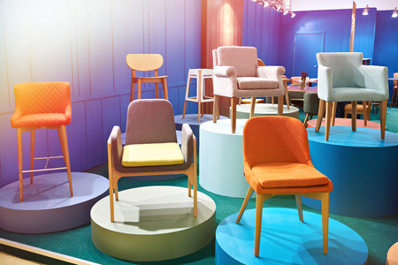 Chairs in the salon of furniture