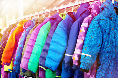 Winter children sports jacket on a hanger in the store