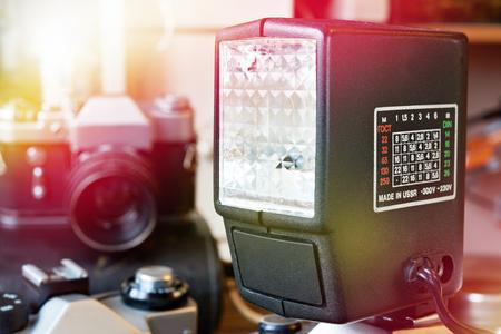 Retro external photo flash closeup Фото со стока