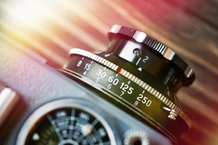 Retro photo camera lens closeup