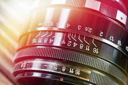 Retro photo slr camera lens closeup