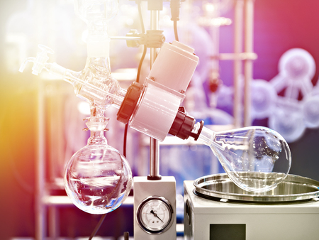 Laboratory rotary evaporator with a flask for chemistry Stock Photo