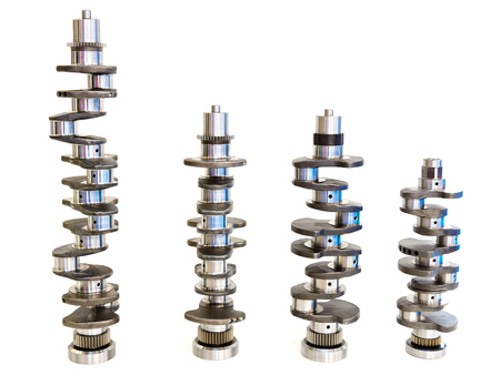 Crankshafts for cars isolated on white Stock Photo