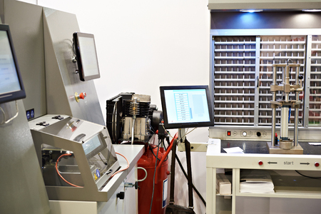 Workplace for the control of fuel injectors Stock Photo