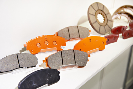 Brake pads on the counter parts store for cars Фото со стока