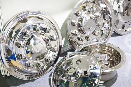 Decorative chrome caps on the wheels for trucks Фото со стока