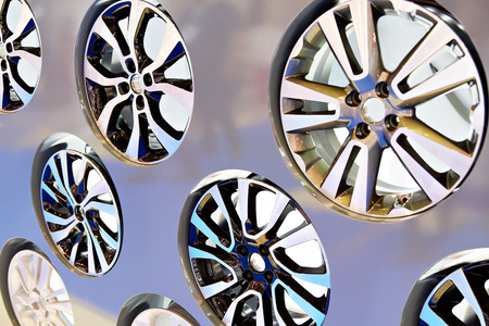 Metal disc wheel for the car at an exhibition