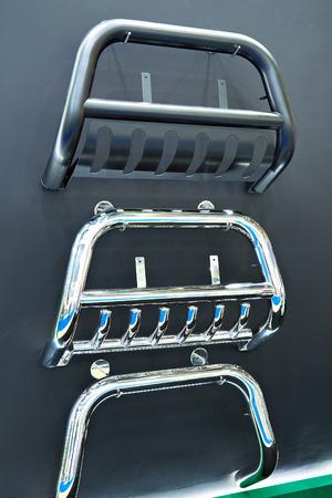 Bullbar or push bumper for car in store Фото со стока