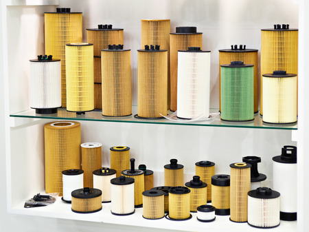 Filter elements for cars in store Фото со стока