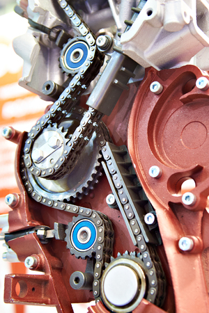 Chain drive and gear in the mechanism