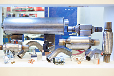 Spare parts of exhaust systems in store Фото со стока