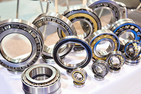 Bearings of different sizes in the showcase of the exhibition