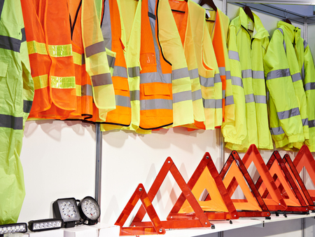 Reflective vests for drivers and plastic red emergency stop sign for car