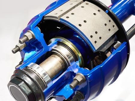Brake pads and brake drum of the truck wheel hub Фото со стока