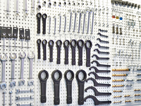 Wrenches on a stand in a store or workshop