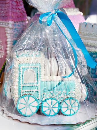 Toy blue locomotive of gingerbread Фото со стока