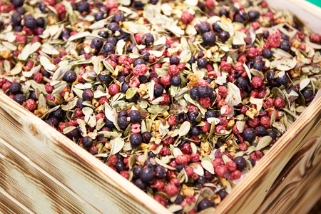 Berry tea in a wooden box