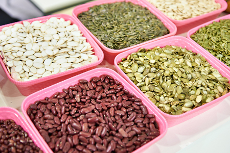 Pumpkin seeds and beans in the store