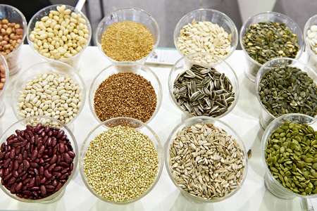 Seeds, beans and cereals on the counter