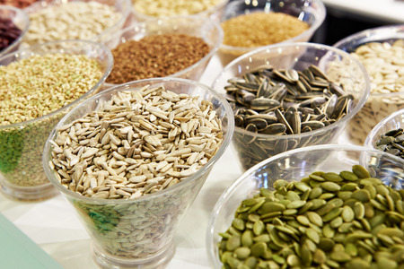 Seeds sunflower, beans and cereals on the counter