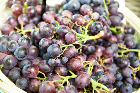 Red grapes closeup in store