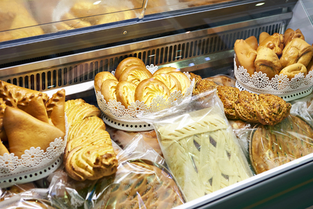 Bread bakery products on store shelves