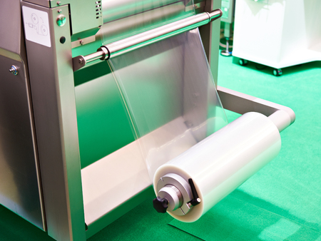 Roll of packaging polyethylene on the machine