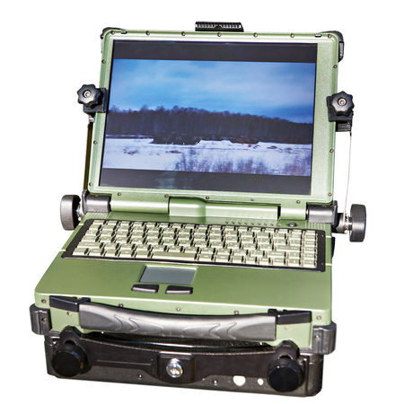 Protected laptop for military and industrial purposes isolated white