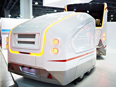 Luggage trailer for bus on exhibition