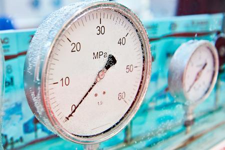 Industrial arrow analog pressure sensors in water