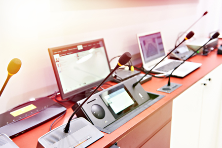 Microphones of digital conference systems for business meeting
