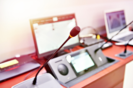 Microphone of digital conference system for business meeting Stockfoto