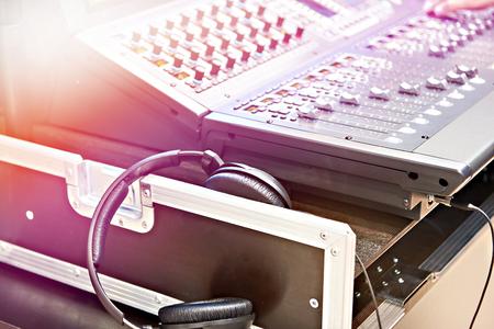Mixing console digital and studio headphones Stock Photo